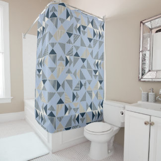 Abstract Blue Geometric Shower Curtain