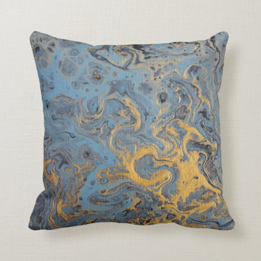 Abstract Blue & Gold Pillow