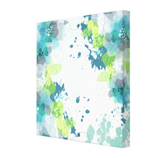Abstract Blue & Green Flower Design Gallery Wrapped Canvas
