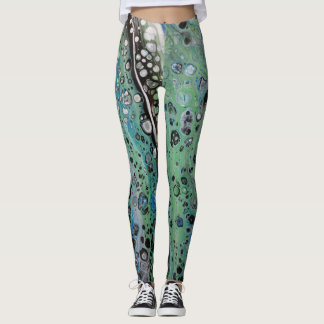 Abstract Blue Green Leopard Leggings