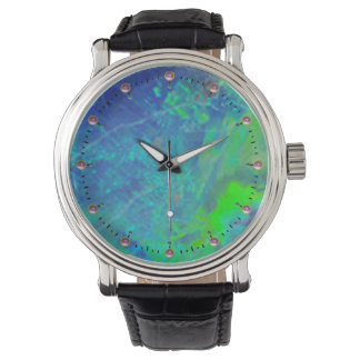 ABSTRACT BLUE GREEN OPAL EFFECT WRIST WATCHES