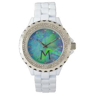 ABSTRACT BLUE GREEN OPAL EFFECT MONOGRAM WRISTWATCHES