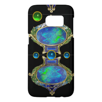 ABSTRACT BLUE GREEN OPAL EFFECT WITH GEMSTONES