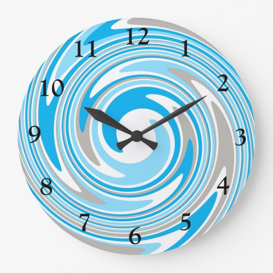 Abstract Blue & Grey Swirl Large Clock