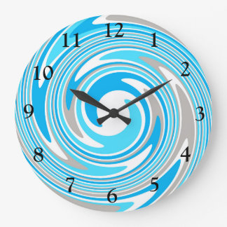 Abstract Blue & Grey Swirl Wall Clock