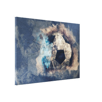 Abstract Blue Grunge Soccer Canvas Print