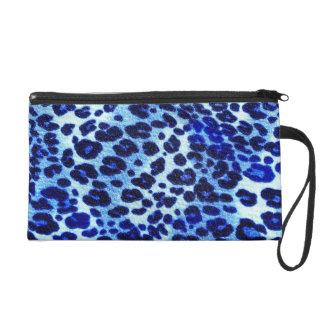 Abstract Blue Hipster Cheetah Animal Print Wristlet Purses