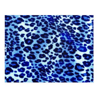 Abstract Blue Hipster Cheetah Animal Print Postcard