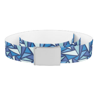 Abstract Blue Ice Crsytal Pattern Belt
