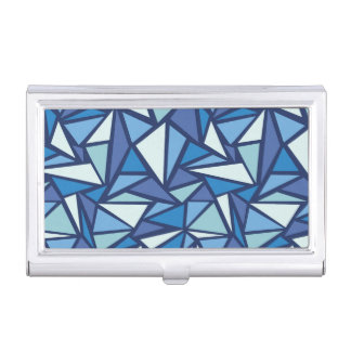 Abstract Blue Ice Crsytal Pattern Business Card Holder