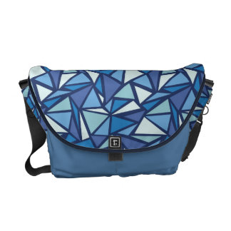 Abstract Blue Ice Crsytal Pattern Commuter Bags