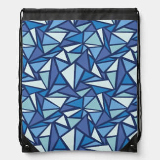 Abstract Blue Ice Crsytal Pattern Drawstring Bag