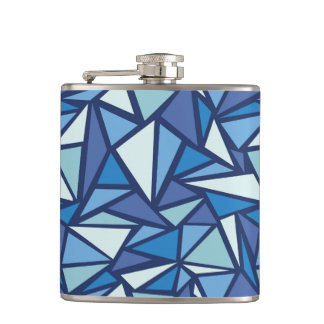 Abstract Blue Ice Crsytal Pattern Hip Flask