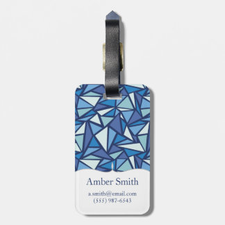 Abstract Blue Ice Crsytal Pattern Luggage Tag