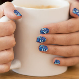 Abstract Blue Ice Crsytal Pattern Minx Nail Art