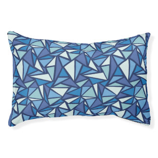Abstract Blue Ice Crsytal Pattern Pet Bed