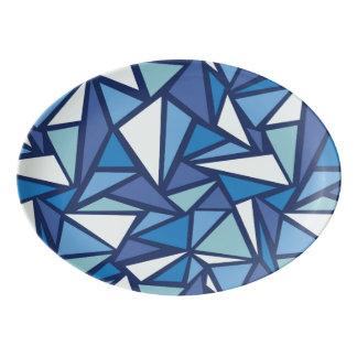 Abstract Blue Ice Crsytal Pattern Porcelain Serving Platter