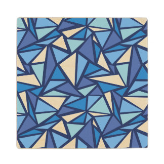 Abstract Blue Ice Crsytal Pattern Wood Coaster