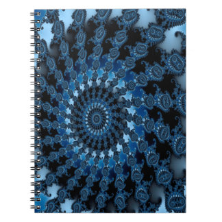 Abstract Blue Ice Pattern Spiral Note Books