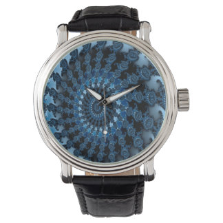 Abstract Blue Ice Pattern Watch