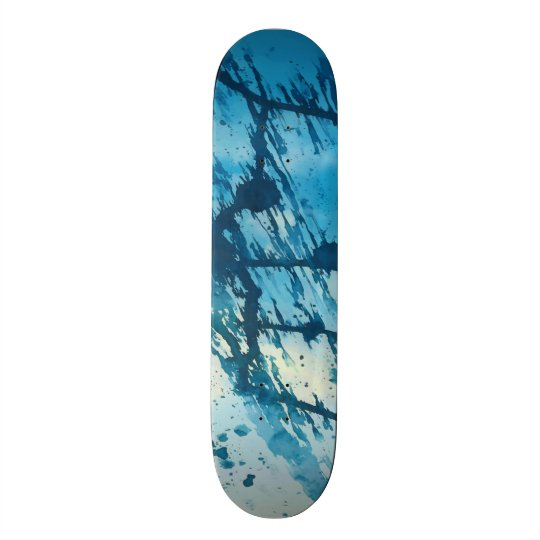 Abstract Blue Ink Splatters Funky Grunge Design Skate