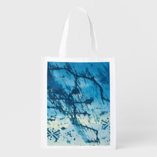 Abstract Blue Ink Splatters Funky Grunge Design Reusable Grocery Bags