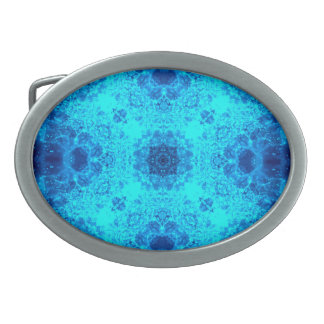 Abstract Blue Lacy Waves Belt Buckles