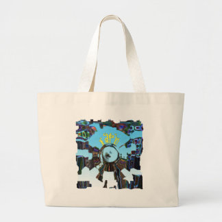 Abstract Blue Large Tote Bag