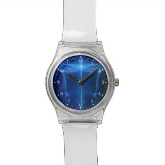 Abstract Blue Light Wave Wrist Watch