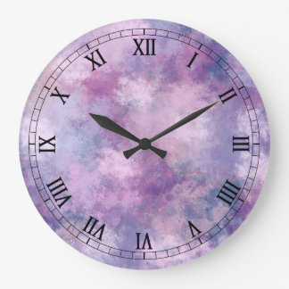 Abstract Blue, Lilac, Pink Acrylic Painting Large Clock