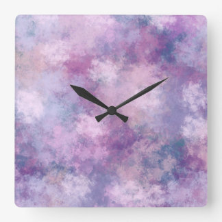 Abstract Blue, Lilac, Pink Acrylic Painting Square Wall Clock