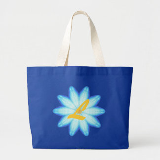 Abstract Blue Lotus Flower Monogram Canvas Bags