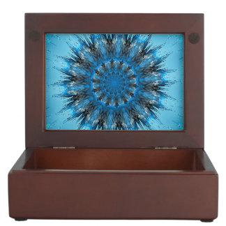 Abstract, blue mandala keepsake boxes