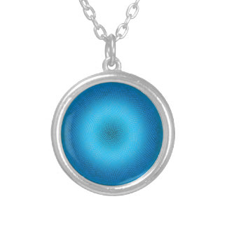 abstract blue mesh round pendant necklace