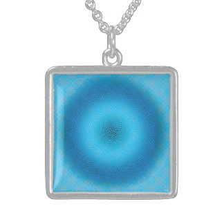 abstract blue mesh square pendant necklace