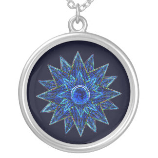 Abstract Blue Moon & Stars Pendant Neckace
