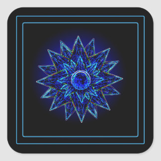 Abstract Blue Moon & Stars Stickers