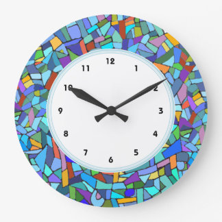 Abstract Blue Mosaic Pattern numbered clock