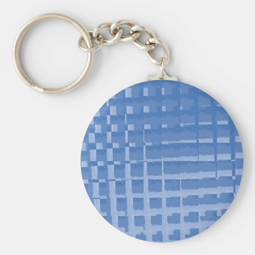 Abstract Blue Mosaic Tiles Muted Blues Pattern Keychains
