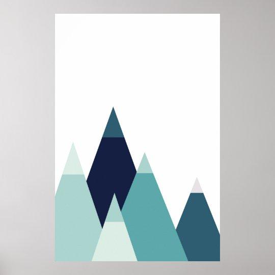 Abstract blue mountains print Modern geometric art