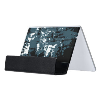 Abstract Blue Multidimensional Landscape Desk Business Card Holder