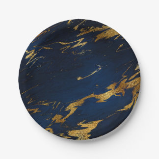 Abstract Blue Navy Marine Marble Party Vip 7 Inch Paper Plate