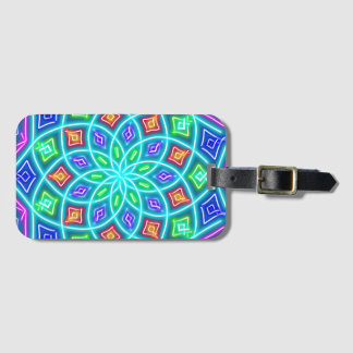 Abstract Blue Neon Flower Luggage Tag