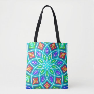 Abstract Blue Neon Flower Tote Bag