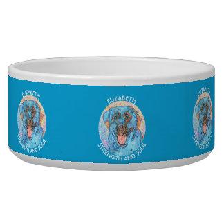 Abstract Blue Orange Labrador Retriever Dog Water Bowl