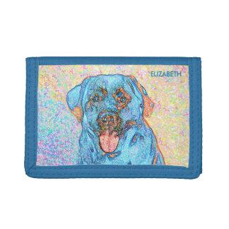 Abstract Blue Orange Labrador Retriever Tri-fold Wallet