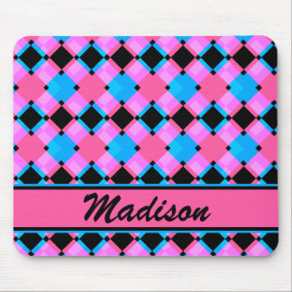 Abstract Blue Pink Black Diamond Pattern Mouse Pad