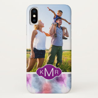 Abstract Blue & Pink Watercolor | Add Photo iPhone X Case
