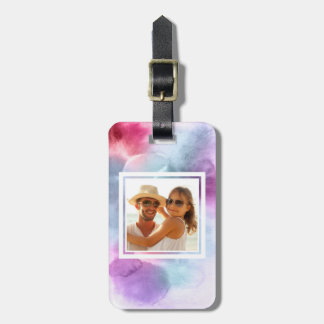 Abstract Blue & Pink Watercolor   Add your Name Luggage Tag