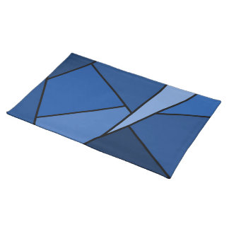 Abstract Blue Polygons Place Mats
